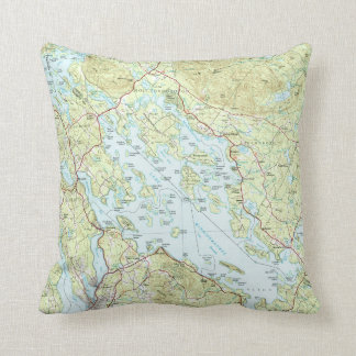 Lake Winnipesaukee Map (1986) Throw Pillow