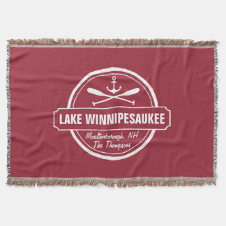 Lake Winnipesaukee NH custom town, name, anchor Throw Blanket