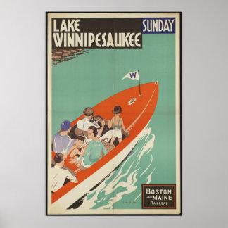 Lake Winnipesaukee Vintage Travel Poster Ad Retro
