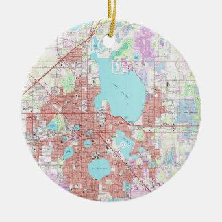 Lakeland Florida Map (1975) Ceramic Ornament