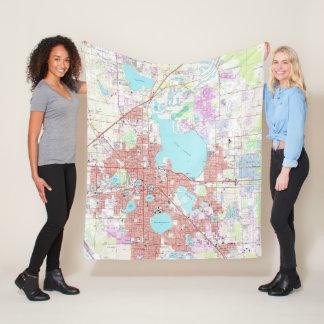 Lakeland Florida Map (1975) Fleece Blanket