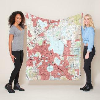 Lakeland Florida Map (1994) Fleece Blanket