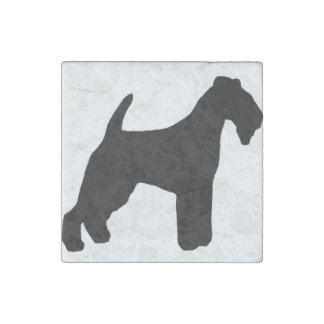 lakeland terrier silhouette stone magnets