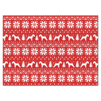 Lakeland Terrier Silhouettes Christmas Pattern Red Tissue Paper