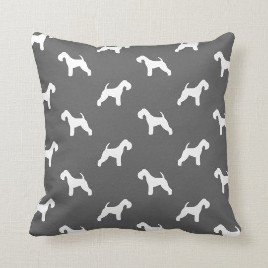 Lakeland Terrier Silhouettes Pattern Throw Pillow