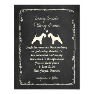 Lakeland Terrier Silhouettes Wedding Announcement