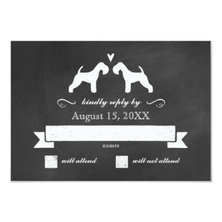 Lakeland Terrier Silhouettes Wedding Reply RSVP Card