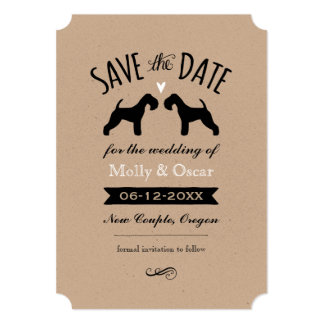 Lakeland Terrier Silhouettes Wedding Save the Date Card