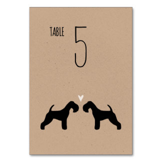 Lakeland Terrier Silhouettes Wedding Table Card