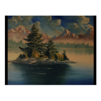 Lakeside Tranquility Painting Postcard
