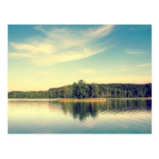 Lakeside Vintage Tree Line Postcard