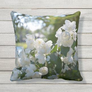 Lakeside White Flowers Outdoor Throw Pillow