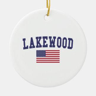 Lakewood OH US Flag Ceramic Ornament