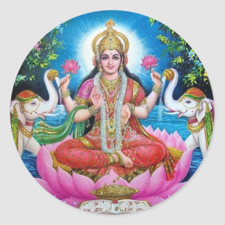 Lakshmi Goddess of Love, Prosperity, and Wealth Classic Round Sticker