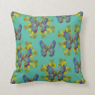 Lalabutterfly Teal Throw Pillow