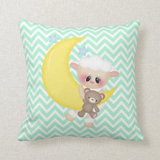 Lamb and Crescent Moon Nursery Throw Pillow