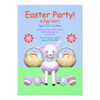 """Lamb and Eggs Easter Party 5"""" X 7"""" Invitation Card"""