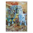 Lamb and sheep painting