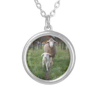 Lamb and sheep silver plated necklace