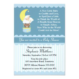"Lamb and Teddy Bear Baby Shower 5"" X 7"" Invitation Card"