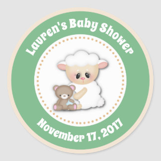 Lamb Baby Shower Favor Stickers Neutral