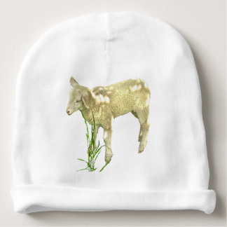 Lamb Grazing in the Green Grass Baby Beanie