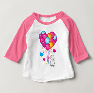 Lamb Holding Balloons in the Shape of a Heart Baby T-Shirt