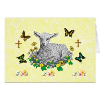 Lamb in flowers greeting card