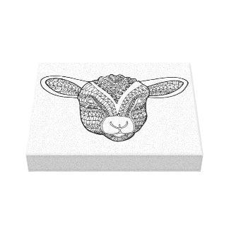 Lamb Line Art Design Canvas Print