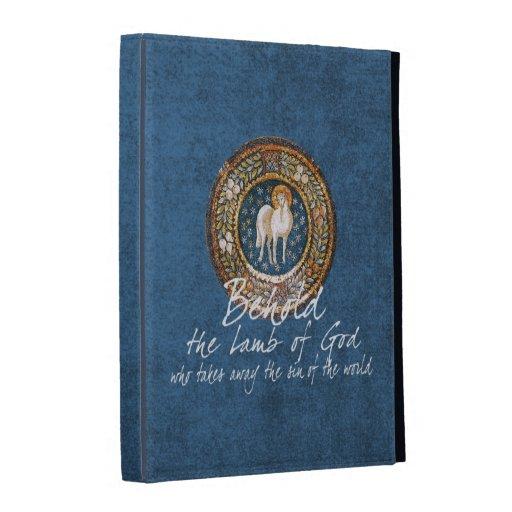 Lamb of God Byzantine Christian Icon on Blue iPad Folio Cases