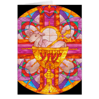 Lamb of God stained glass Card