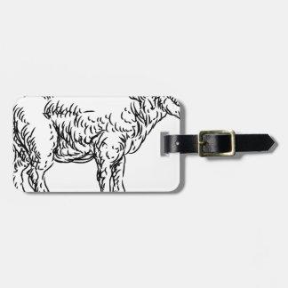 Lamb Sheep Food Grunge Style Hand Drawn Icon Luggage Tag