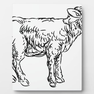 Lamb Sheep Food Grunge Style Hand Drawn Icon Plaque