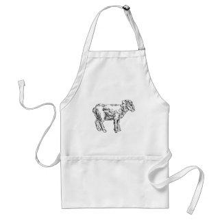 Lamb Sheep Food Grunge Style Hand Drawn Icon Standard Apron