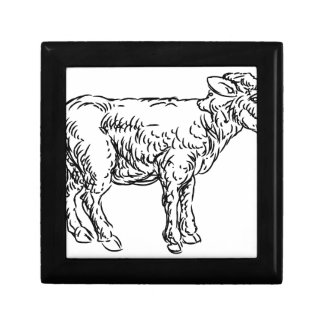 Lamb Sheep Food Grunge Style Hand Drawn Icon Trinket Boxes