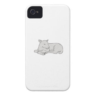Lamb Sleeping Drawing iPhone 4 Case-Mate Case