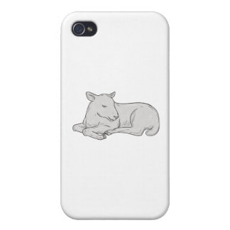 Lamb Sleeping Drawing iPhone 4 Cases