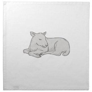 Lamb Sleeping Drawing Napkin