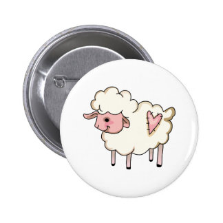LAMB WITH HEART 2 INCH ROUND BUTTON