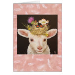 Lamb with two baby cardinals notecard note card