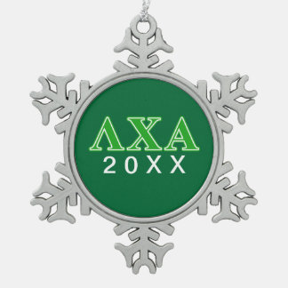 Lambda Chi Alpha Green Letters Snowflake Pewter Christmas Ornament