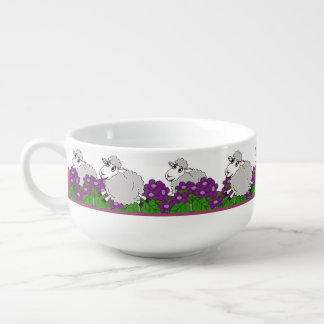 Lambs on the Run Through a Violet Garden Soup Mug
