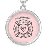L'amie du sapeur-pompier pendentif rond