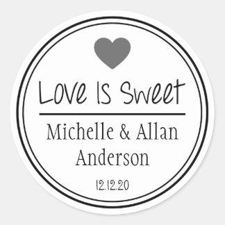 L'amour est doux nouveaux M. et Mme (gris/noir) Sticker Rond