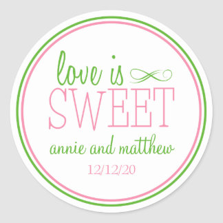 L'amour est les étiquettes doux (rose/vert de ment adhésifs ronds