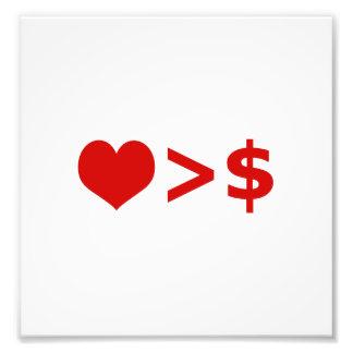 L'amour est plus important que le concept d'argent impression photo