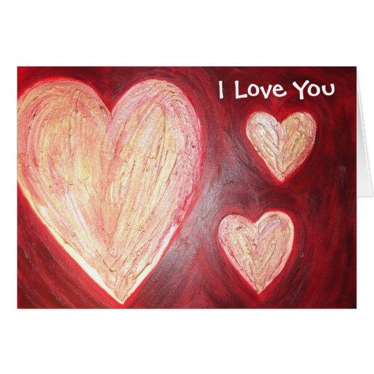 l'amour est rouge, je t'aime carte de vœux