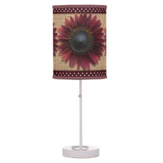 Lamp - Accent - Burlap and Bordeaux Sunflower