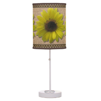 Lamp - Accent - Burlap and Rain-Drenched Sunflower