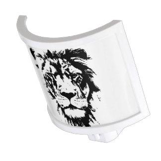 Lamp black and white print lion night lites